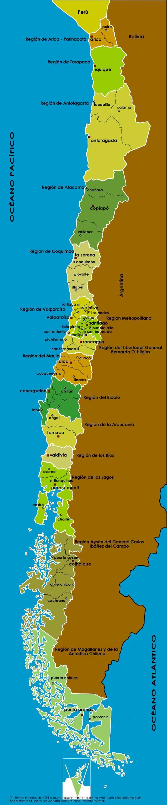 mapa chile Mapa Político de Chile Actualizado con sus 15 Regiones mapa chile