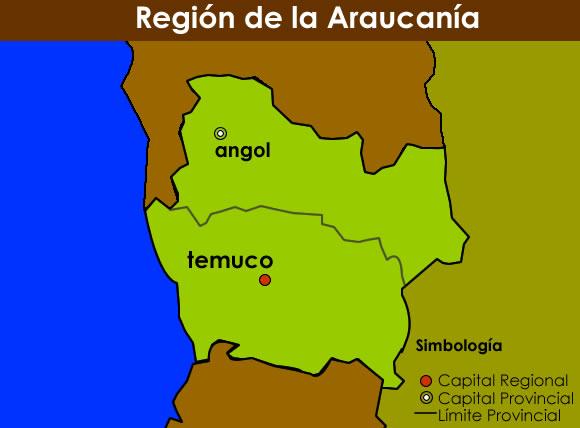 Mapa Región de la Araucanía