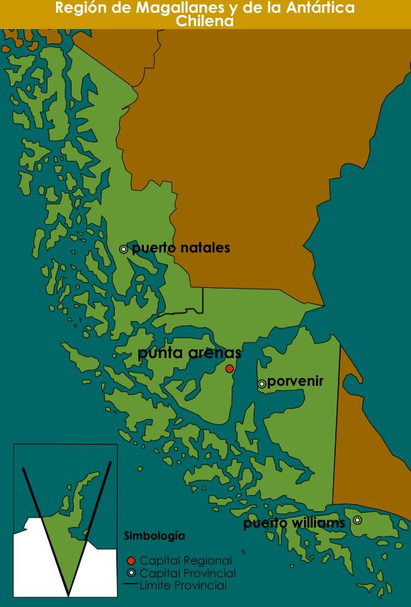 Mapa XII Región de Magallanes y de la Antártica Chilena